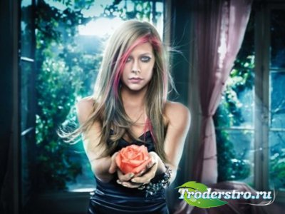 Шаблон для фото Девушка с розой