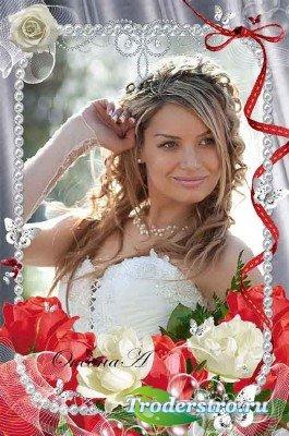 Рамка для оформления свадебных фото – Алая роза любви