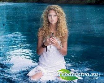 Шаблон для фото Блондинка в озере