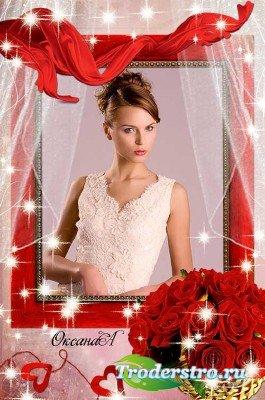 Цветочная рамка для фото – Корзина алых роз для любимой