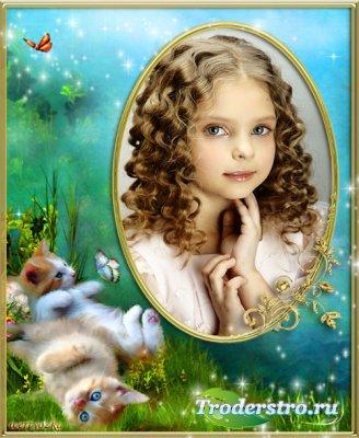 Детская рамка для фото - Милые котята и порхающие бабочки