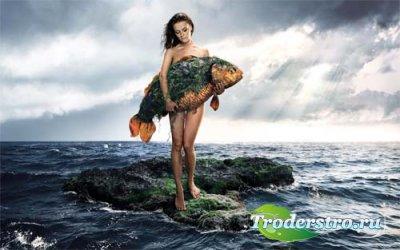 девушка с рыбкой шаблон для фотомонтажа