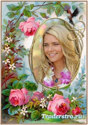 Винтажная рамка с розами и птицей