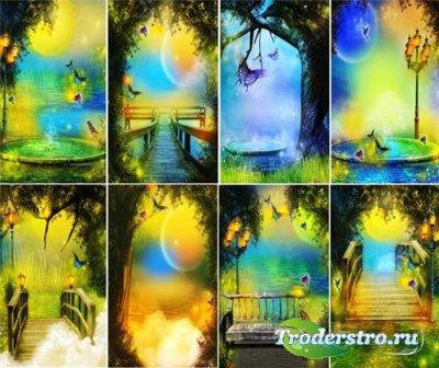 Волшебные фоны для фотошопа в желто-синих тонах