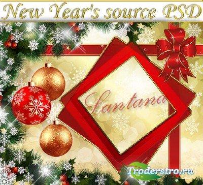 PSD исходник - Новогодняя мишура № 3