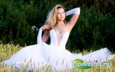 Шаблон для фото Невеста в поле