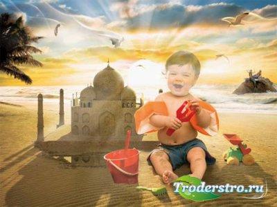 Шаблон для фотошоп - малыш строит замок