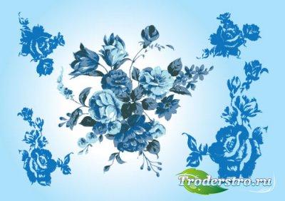 Голубые цветочные украшения (Vector)