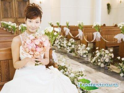 Шаблон для фото Невеста в церкви