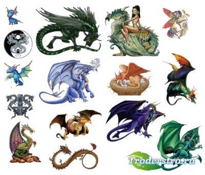 Клипарт - Фантастические драконы