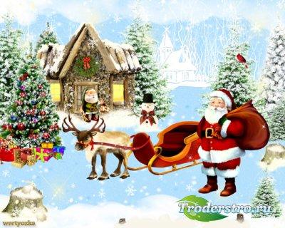 Зимний psd исходник -  Новогоднее настроение
