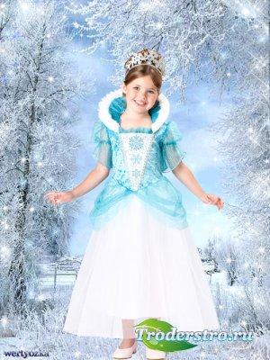 Детский шаблон - Девочка в платье принцессы и зимняя сказка