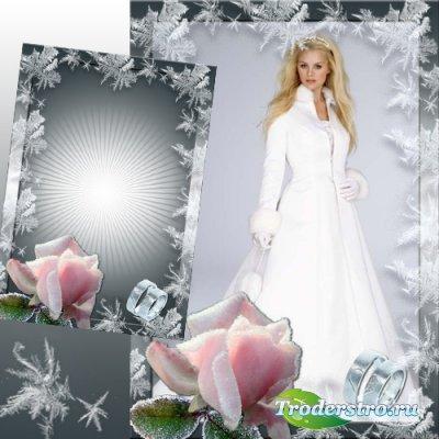 Свадебная рамка для Фотошоп - Зимняя роза