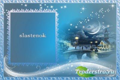 Рамка для фотошопа - Сказка начинается под Рождество