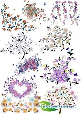 Цветочные векторные декоративные элементы