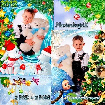 2 Новогодние детские рамки для фотошоп – Зайчата и Маша