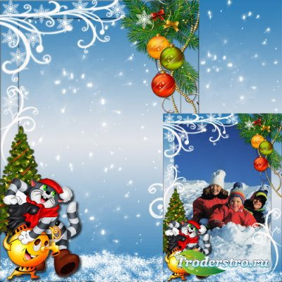 Новогодняя рамка для детей - Зима в Простоквашино