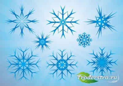 Синие снежинки (Вектор)