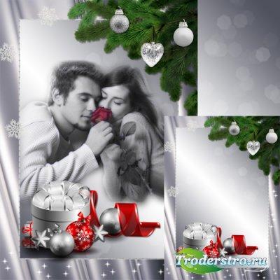 Рамка для фото в серебрянном стиле - Скоро Новый год