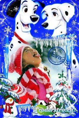Детская фоторамка - Снежные далматинцы