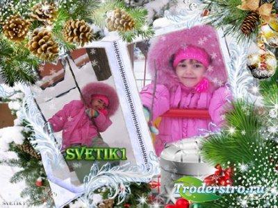 Новогодняя рамка для фото - Зимний блеск