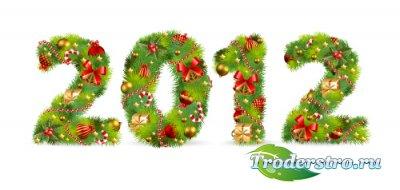 Наряженный еловый логотип 2012 (Вектор)