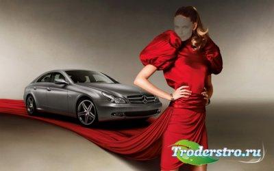 Женский шаблон - в красном платье на фоне авто