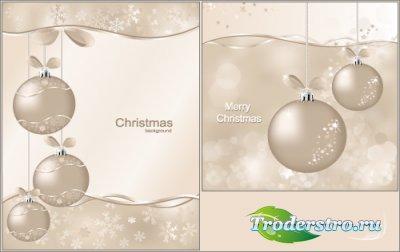 Новогодние векторные фоны с Жемчужными шарами