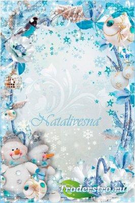 Новогодняя детская рамка – Мы друзья снеговики, не боимся мы зимы…