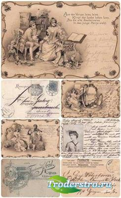 12 старинных открыток - фоны