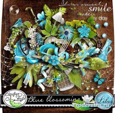 Прекрасный нежный цветочный скрап-набор - Голубое цветение. Scrap - Blue bl ...