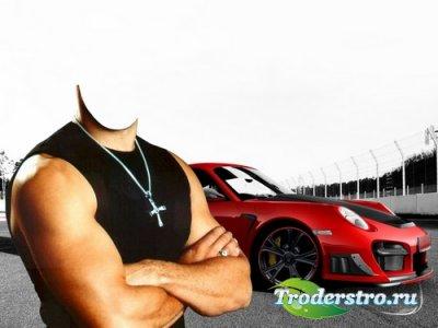 Шаблон для монтажа в Photoshop - Гонщик на красном Porsche