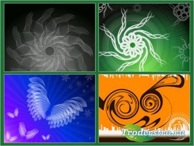 Черные, синие, зеленые, оранжевые фоны (Вектор)