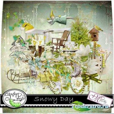 Красивый зимний скрап-набор - Снежный день. Scrap - Snowy Day