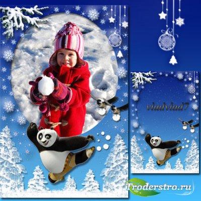 Детская рамка - Кунг-фу Панда, снежные забавы