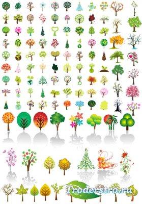 Коллекция разнообразных деревьев (Вектор)
