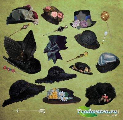 Клипарт - Женские викторианские черные шапки