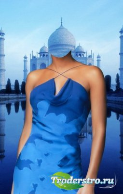 Шаблон для фото - Леди в голубом