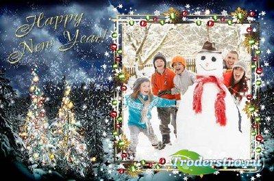 Рамка для фото новогодняя – Засверкай огнями ёлка и порадуй малышей