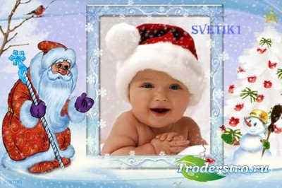 Новогодняя детская рамка для фото - Дед Мороз и снеговик