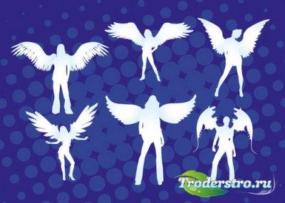 Девушки ангелы с крыльями (Вектор)