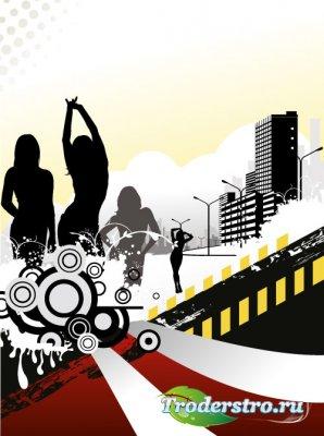 Ночной город с девушками - Векторный клипарт