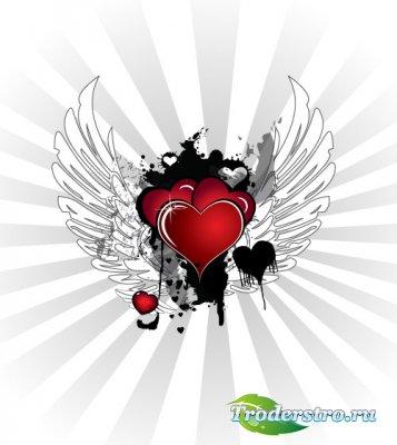 Крылатая валентинка (Вектор)