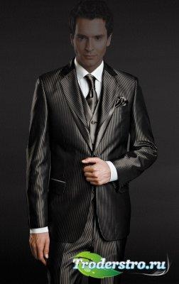 Мужской стильный костюм для фотомонтажа
