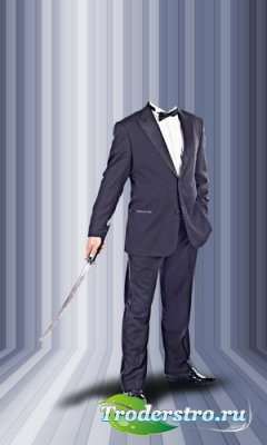 Шаблон для монтажа в Photoshop - В костюме с японским мечом