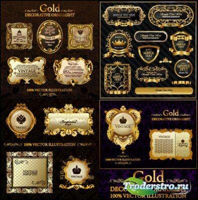 Золотые декоротивные орнаменты (Вектор)