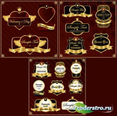 Золотые этикетки валентинки (Вектор)
