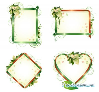 Зеленые ленточные рамки с бликами (Вектор)