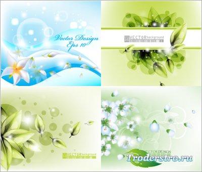 Зеленые цветочные фоны с листьями (Вектор)
