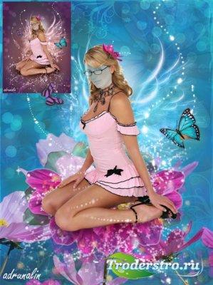 Шаблон для фотошоп -  Цветочная фея